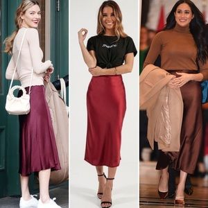 RACHEL ZOE Satin Midi Silk Skirt M Medium Red
